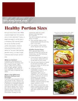 Healthy Portion Sizes - Northshore School District