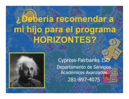 ¿Debería recomendar a mi hijo para el programa HORIZONTES?