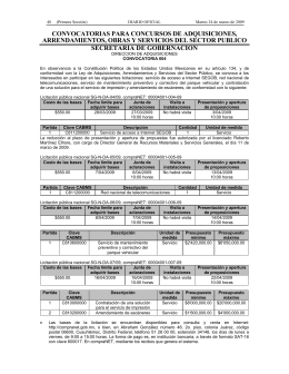 convocatorias para concursos de adquisiciones, arrendamientos