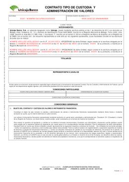 CONTRATO TIPO DE CUSTODIA Y ADMINISTRACIÓN DE VALORES