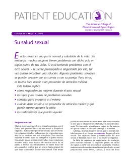 Patient Education Pamphlet, SP072, Su salud sexual