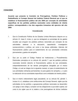 Acuerdo que presenta la Comisión de Prerrogativas, Partidos