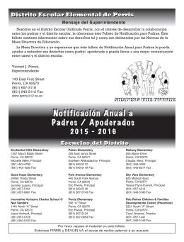 Notificación Anual a Padres / Apoderados Notificación Anual a