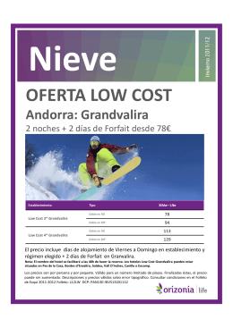 OFERTA LOW COST Andorra: Grandvalira