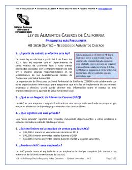 LEY DE ALIMENTOS CASEROS DE CALIFORNIA