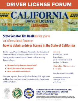 DRIVER LICENSE FORUM - San Jose State University