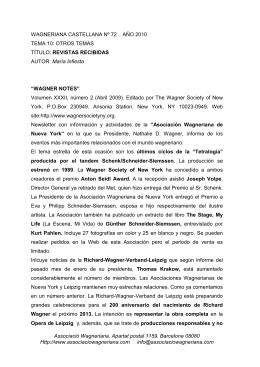 revistas recibidas - Associació Wagneriana de Barcelona