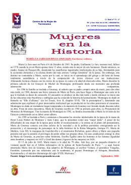 MARÍA LE JARS GOURNAY (1565-1645) Escritora y editora. Marie