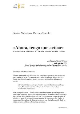 «Ahora, tengo que actuar» - Fundación Mezquita de Sevilla