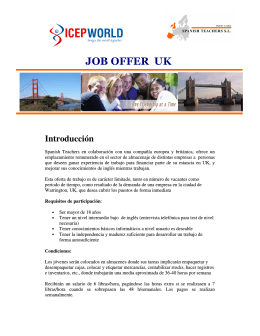 JOB OFFER UK - Spanish Teachers