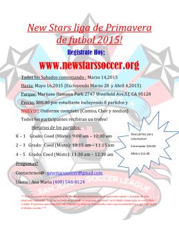 New Stars liga de Primavera de futbol 2015!