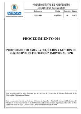 procedimiento para la selección y gestión de los equipos de