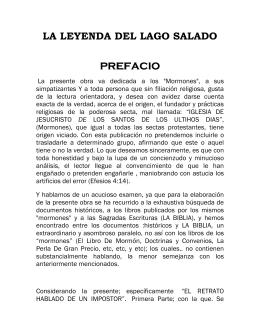 LA LEYENDA DEL LAGO SALADO PREFACIO