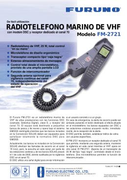 RADIOTELEFONO MARINO DE VHF Modelo FM-2721