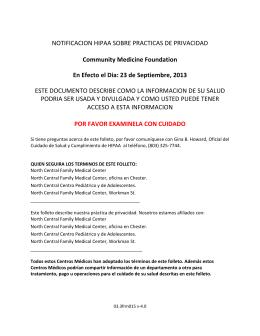 NOTIFICACION HIPAA SOBRE PRACTICAS DE PRIVACIDAD