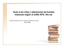 Guía a las citas y referencias de fuentes impresas según el estilo