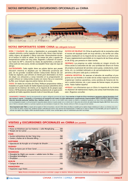 Notas Importantes y Excursiones Opcionales en China
