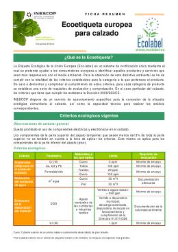 Ficha Resumen - Ecoetiqueta Europea para el calzado