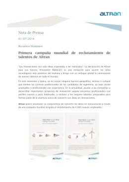 Nota de Prensa Primera campaña mundial de reclutamiento de