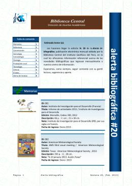 alerta 20 - Instituto Geofísico del Perú