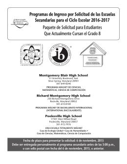 Programas de Ingreso por Solicitud de las Escuelas Secundarias