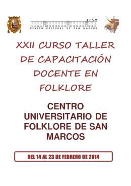 xxii curso taller de capacitación docente en folklore centro