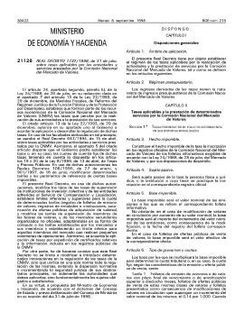 Real Decreto 1732/1998, de 31 de julio, sobre tasas aplicables por