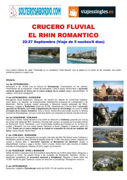 CRUCERO FLUVIAL EL RHIN ROMANTICO