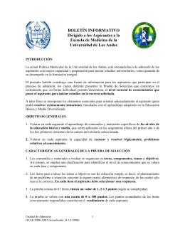 Boletín Informativo para la Prueba de Medicina