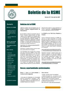 Boletin electrónico nº 87 - Real Sociedad Matemática Española