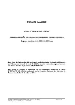 NOTA DE VALORES