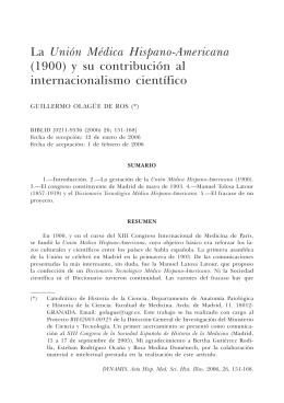 La Unión Médica Hispano-Americana (1900) y su