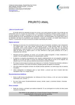 PRURITO ANAL - Centro Europeo Cirugía Colorrectal