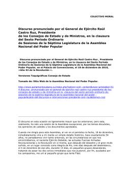 Discurso pronunciado por el General de Ejército Raúl Castro Ruz