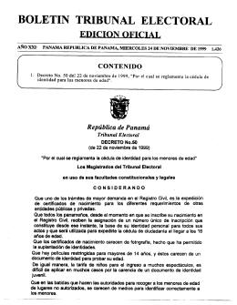 BOLETIN TRIBUNAL ELECTORAL - Superintendencia de Bancos