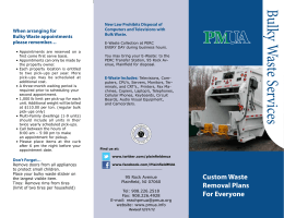 Bulky W aste Services - Plainfield Municipal Utilities Authority