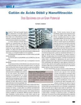 Catión de Ácido Débil y Nanofiltración Dos Opciones con un Gran