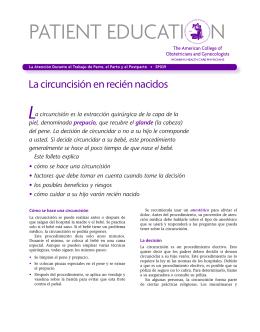 Patient Education Pamphlet, SP039, La circuncisión en recién nacidos