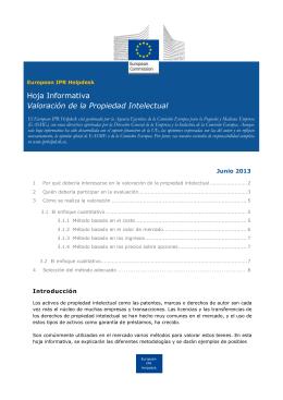 Hoja Informativa Valoración de la Propiedad Intelectual