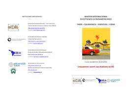 Folleto presentacion del Master Internacional x M1 2013-2014