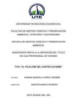 universidad tecnològica equinoccial facultad de gestiòn turìstica y
