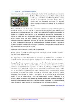 LECTURA 28. La selva venezolana