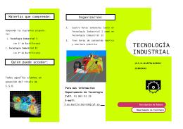 Folleto de presentación de TECNOLOGÍA INDUSTRIAL