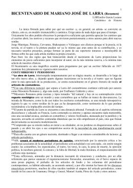 BICENTENARIO DE MARIANO JOSÉ DE LARRA (Resumen)