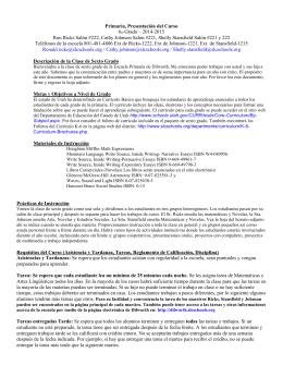 Primaria, Presentación del Curso 6to Grado – 2014
