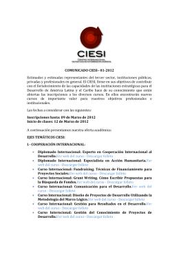 COMUNICADO CIESI– 01-2012 Estimados y estimadas