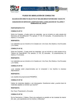 PLIEGO DE ABSOLUCIÓN DE CONSULTAS