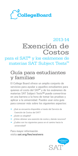 SAT Fee Waiver Program - Spanish Guide for Families