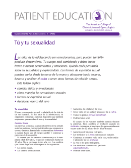 Patient Education Pamphlet, SP042, Tu y tu sexualidad