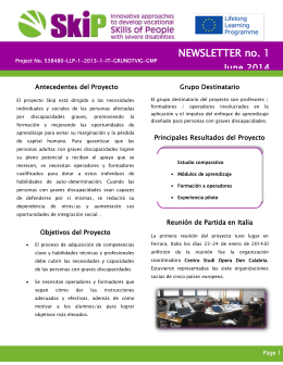 NEWSLETTER no. 1